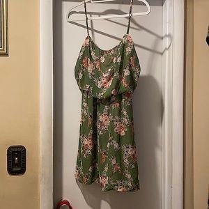 The vintage shop Green floral strap dress
